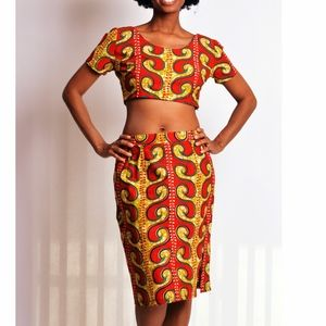 african print crop top and skirt